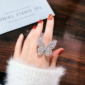 Eyed Out Schmetterling Ring für Frauen Luxus Designer Weiß Rosa Bling Diamant Ringe Einstellbare Öffnung Gold Silber Zirkon Ring Schmuck Geschenk
