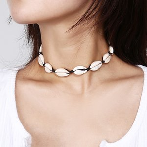 Seil-Kette natürliche Shell Halsketten Fashion Frau Boho Seashell-Halskette Dame Summer Beach Party Schmuck Mädchen Chokers TTA1109