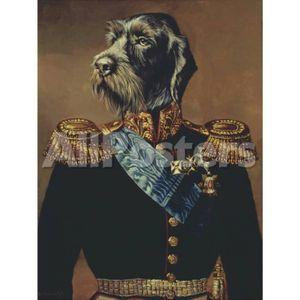 Personifizierte Hundeleinwandkunst Ölgemälde des königlichen Offiziers Thierry Poncelet handgemalt