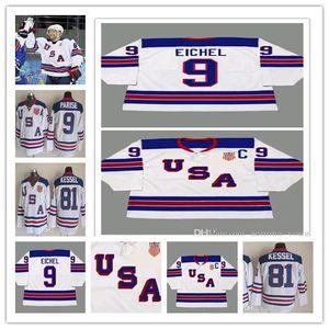 Personalizadas 2014 Uniformes EE.UU. Hockey retro jerseys 9 JACK EICHEL Todo cosido Deportes Embroideried barato de los hombres de alta calidad
