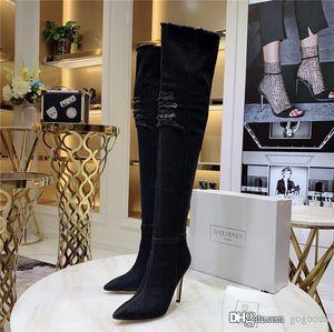 Jean Boots Femme Cuissardes, Haut Élastique Sur Le Genou Bottes Hautes Avec Trous Talons Bleus Zipper Denim Jeans Talon-Hauteur 11 cm