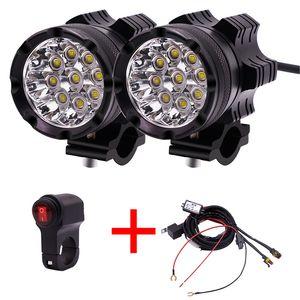 1 Par de Motocicleta Faros LED 12V 90W 11000LM LED Moto Faros Moto Spot Head Luz Lámpara Auxiliar DRL