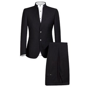 Mens Suit Chinese Traditional Uniform Chinese Tunic Suit 2 Piece Formal Wear Slim Fit Mens Suits Groom Wedding Blazer Pants