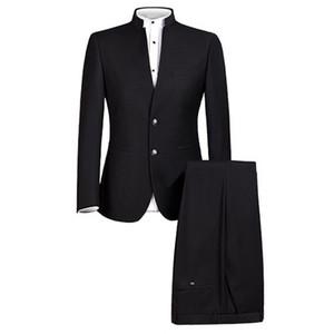 Erkek Takım Çince Geleneksel Üniforma Çince Tunik Suit 2 Parça Resmi Giyim Slim Fit Erkek Damat Düğün Blazer Pantolon Suits