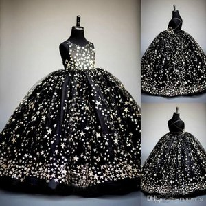 2020 preto Bola Sparkly Vestido Floristas Vestidos para casamentos lantejoulas Kids Wear Formal Moda Pageant Outfit vestidos vestidos de primera