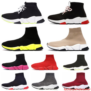 24-48h nave hacia fuera Zapatos de diseñador Speed Trainer Calcetín casual Zapato Triple Negro Blanco Brillo Plano Moda para hombre Mujer Runner Calcetines Zapatillas de deporte 36-45