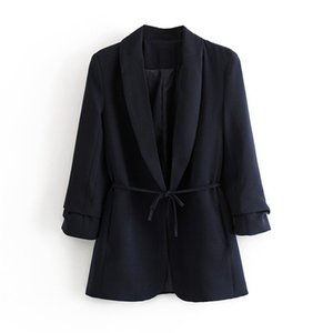 Stylish Autumn Winter Women's Blazers Sashes Jackets Notched Outerwear England Style Solid Long Sleeve Suits