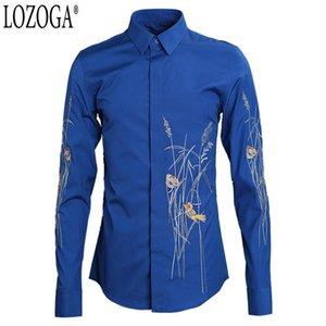 Lozoga 셔츠 남자 봄과 여름 새로운 꽃과 새 자수 유행 남자의 셔츠 유행 원래 상표 디자인 셔츠