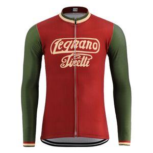 2020 NEW 고전적인 복고풍 자전거 저지 프로 팀 남성 긴 소매 도로 경주 자전거 마모 의류 빨간 여름 얇은 / 겨울 양털 자전거 의류