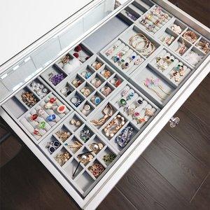 12 ANFEI Gitter grau Ring Ablagefächer hohe Qualität grauer Samt Schmuck Ring Display Ablagefach Display Aufbewahrungsbox