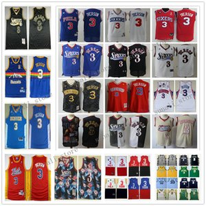 Stitched Men Allen Iverson 3 Jerseys Basketball College Retro Blue White Red Rainbow Youth Kids 2020 New Arrival