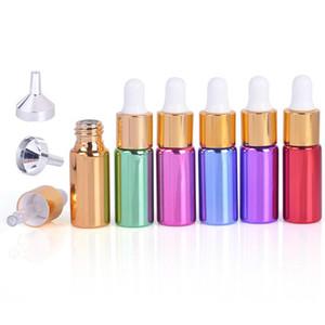 5мл Стеклянные бутылки капельницы Parfums Перезаправляемые Бутылки с золотом шапки белого шарика Оптовая Красочные Эфирное масло пакет бутылки LX9107
