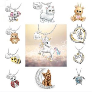 Fashion Women Lettering Silver Plated Animal Unicorn Dog Cat Bee Chain Pendant Necklace Love Promise Gifts