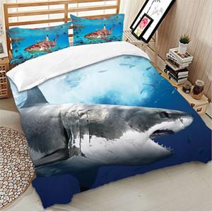 Popular 3D Imprimir Set fundamento twin queen Full Size 2 / 3pcs com fronha Consolador Cover Set mar tubarão azul casa Roupa de cama