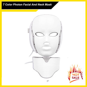 7 LED de color facial de la máscara de cuello ccsme Microelectrónica LED fotón máscara de arrugas eliminación piel rejuvenecimiento facial y del cuello de belleza