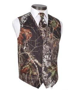 2019 Men Camo Printed Groom Vests Wedding Vests Realtree Spring Camouflage Slim Fit Mens Vests 2 Pieces set (Vest + Tie) Custom Made Plus Size