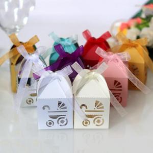 200pcs Laser Cut Hollow Коляска автомобили Фавор Подарки коробка конфет с лентой Пользовательского Baby Shower Birthday Party Favor украшение