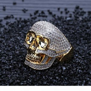 Skull Men's Overbearing Ring Zircon-inlaid Hip-hop Punk Ring European and American Personality Retro