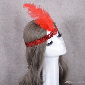 Devekuşu Tüy Şapkalar Pul Set Matkap Başlık Gönye Headban Doğum Günü Partisi Masquerade Sıcak Satış Yeni Yapay Kristal 1