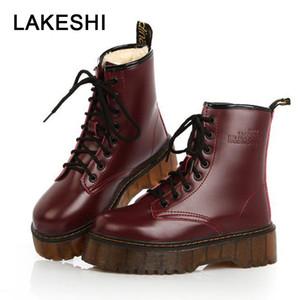 Lakeshi frauen schuhe punk stiefeletten frauen pu leder motorradstiefel herbst winter weibliche plattform plüsch booties