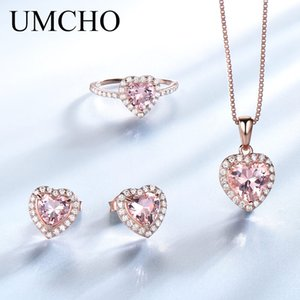 UMCHO düzenlendi Morganit Takı Setleri Şık Kalp 925 Gümüş Takı Kadınlar Düğün Hediyeleri için Salkım Yüzükler Küpeler