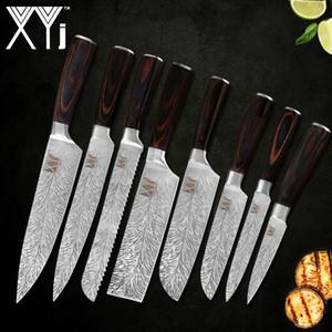 XYj 7CR17 Couteau En Acier Inoxydable 8 PCS Cuisine Chef Chef Trancher Le Pain Couper en morceaux Santoku Santoku Utilitaire Couteau À Fruits Couteau Bend Poignée