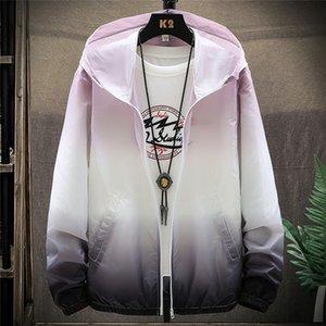 Jackets Gradient Thin Ultra Windbreakers Clothing Zipper Protection Running Coats Hooded Summer Sport Streetwear Mens UV Slim Emfsa