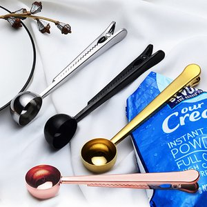 Cuillère multifonction en acier inoxydable avec sac au sol clip thé café Scoop Seal Sac Portable clip poudre de cuisine Outils de mesure