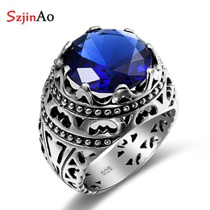 Szjinao Moda Etnik 925 Gümüş Yüzük Blue Stone Takı Vintage Kristalleri Safir Gümüş Yüzük Kadın Erkek Satış LY191226 için
