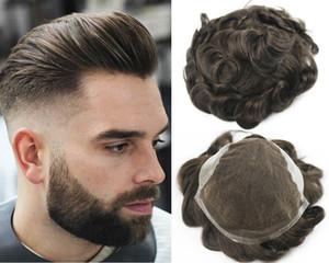 # 3 Brown Cor peruca para peruca de cabelo Pieces brasileira Virgem Cabelo Humano substituição de homens cheios Homens Swiss Lace frete grátis