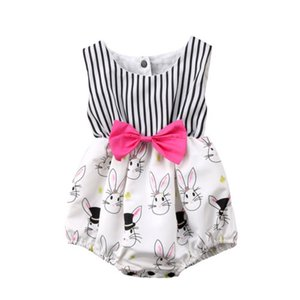 new fashion Newborn Baby Girl bodysuit Infant Bunny Rabbit striped Jumpsuit sleeveless Bodysuit Outfits Clothes