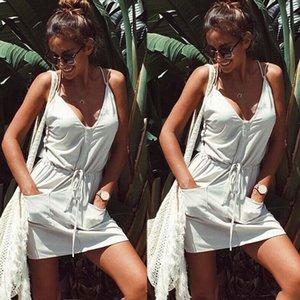 Casuale delle donne di sera del partito senza maniche Summer Beach Dress Pocket Solid scollo a V mini breve Bianco