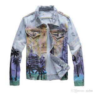 Einzigartige Mens Designer Printed Jeansjacken zerrissene Art und Weise Slim Fit Streetmotorradfahrer Epaulet Blue Jeans-Jacken-Mantel 423