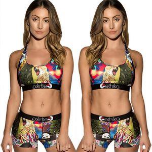 Mulheres Treino Verão Bikini Vest Top Curto + Shorts 2 piecs Set Mulher Cortar Tops Shorts Swimsuit animal Impresso dos desenhos animados Swimwear C6304