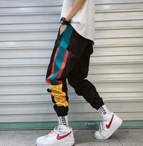 Hip Hop Streetwear erkek Splice Joggers Pantolon Moda Erkekler Rahat Kargo Pantolon Pantolon Yüksek Sokak Elastik Bel Harem Pantolon erkekler