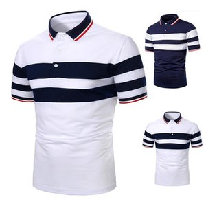 Casual Lapel Neck Polos Mens Clothing Mens Designer Patchwork Polos Fashion Natural Color Short Sleeve Polos