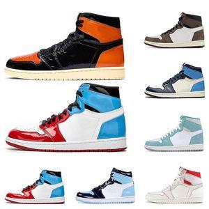 2020 Erkek basketbol ayakkabıları 1s Shattered Arkalık Obsidian UNC Korkusuz First Class Uçuş TURBO YEŞİL 1 spor sneaker eğitmen boyutu 5,5-12