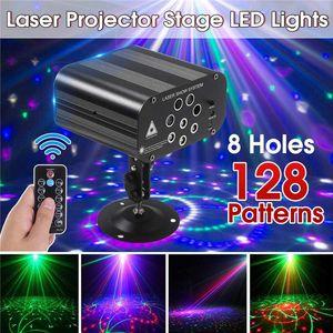 Home 128 modèles Projecteur DJ Laser lumière rouge vert bleu LED Effet Disco Boule de lumière avec contrôleur moving head Party Lampe US UK UE UA