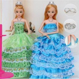 """ht hxldoor 12 Moveable Instância Comum Princesa Bebê Boneca 30 centímetros 11"""" Wedding Toy Design Vestido suíte kids Presente da menina Brinquedo"""