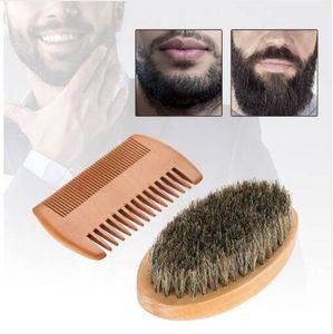 Men Beard Mustache Oval Brush Comb Facial Beard Shaving Cleaning Grooming Shaving Brush Kit Male Facial Hair Brush Set Wood