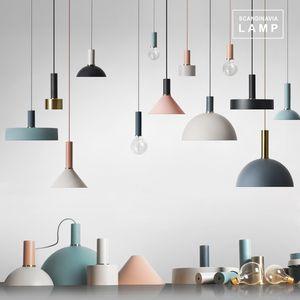 oda yemek odası otel odası demir yaşamak için Danimarka tarzı Macaron DIY kolye ışık Droplight Tavan lambası boyalı
