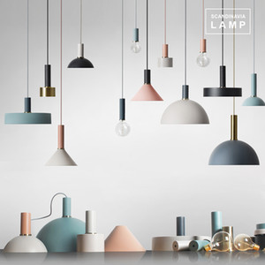 estilo Dinamarca Macaron DIY pingente lâmpada do teto luz Droplight para sala de jantar quarto quarto de hotel de ferro pintado
