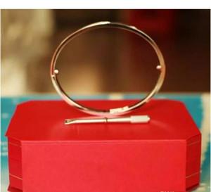 Brazaletes de amor de acero inoxidable para las mujeres de los hombres de oro rosa de plata pulseras de tornillo 16-21 Crystal Forever Love Bangle Bracelet