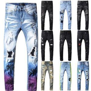 Yüksek kaliteli Erkek kot Hindistan cevizi baskılı renkli yırtık kot Dar kesim delikleri streyç pantolon Pantolon kot sıkıntılı