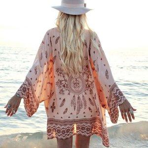 Drucken Kaftan Sexy rosa Badeanzug-Vertuschungen weiblich Sommer Hülse Strandkleid Frauen Vertuschung-Strand-Abnutzung Kimono Badende neu