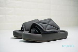 2020 New Top Quality Kanye Season 6 Nylon Slides Men Women 3D Waterproof West Seasn6 Memory Foam High-density Embroidery Green Slippers l16