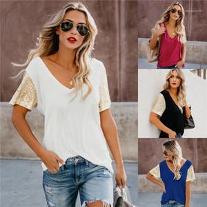 Womens V Neck lantejoulas Manga Curta T-shirt solto forma das mulheres Vestuário Moda Womens Designer Camiseta Hot New