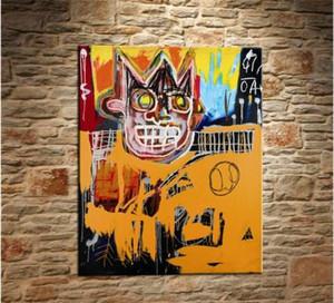 Jean Michel Basquiat dipinto a mano HD Stampa Graffiti Pop arte della parete della pittura a olio su tela di canapa Multi Taglie Opzioni cornici G54