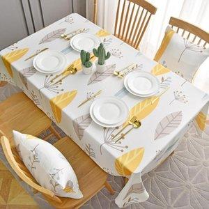 Withme sur le tissu Nappe de table ménage nappe en coton polyester salle à manger Table feuilles nordique couvre antipoussière Protector