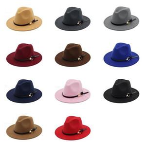 Мода TOP шляпы для мужчин, женщин Элегантный моды Solid войлок Fedora Hat Ленточные Широкий плоский Брим Джаз Шляпы Стильный Trilby Панама Caps